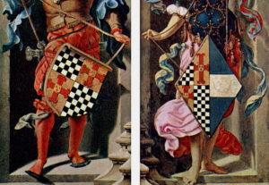Исцеление иерихонского слепца, гербы.