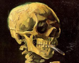 Череп с горящей сигаретой. Фрагмент.