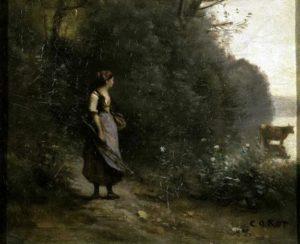 Крестьянка, пасущая корову у опушки леса. Фрагмент.