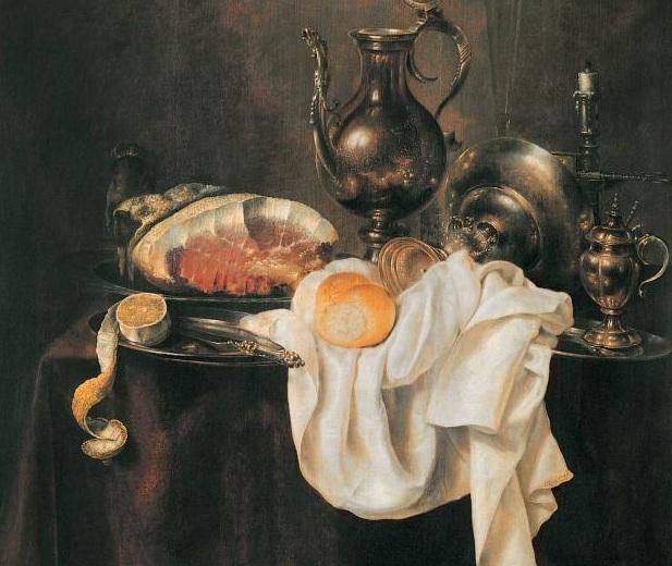 Ветчина и серебряная посуда. Фрагмент.