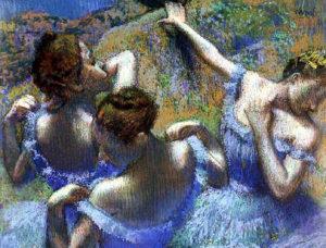 Голубые балерины. Дега. Фрагмент.