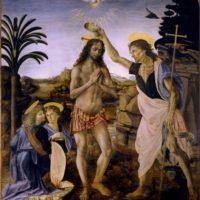 Крещение Христа. Леонардо да Винчи.
