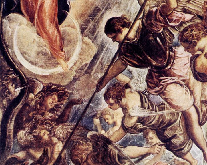 Битва архангела Михаила с Сатаной. Фрагмент.