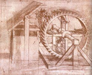 Проект колеса с четырьмя арбалетами. Леонардо.