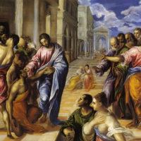Христос исцеляет слепого. Эль Греко.