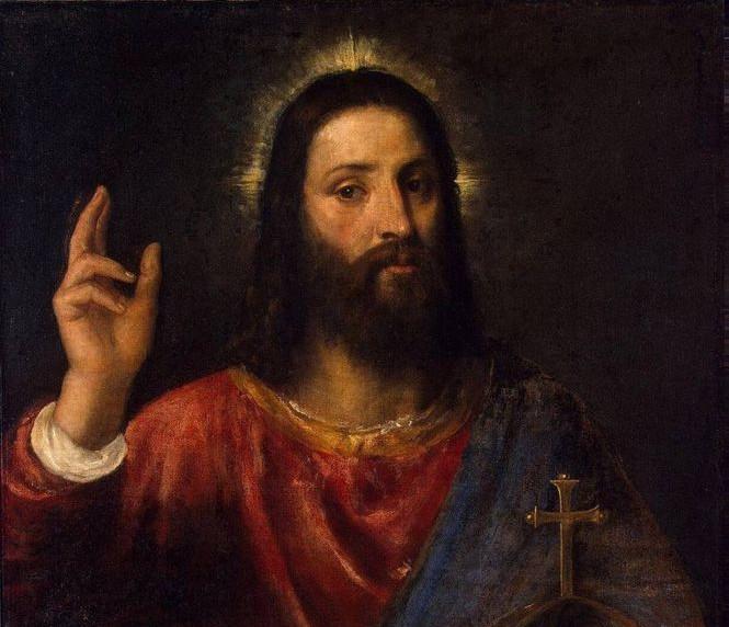Христос Вседержатель. Тициан. Фрагмент.