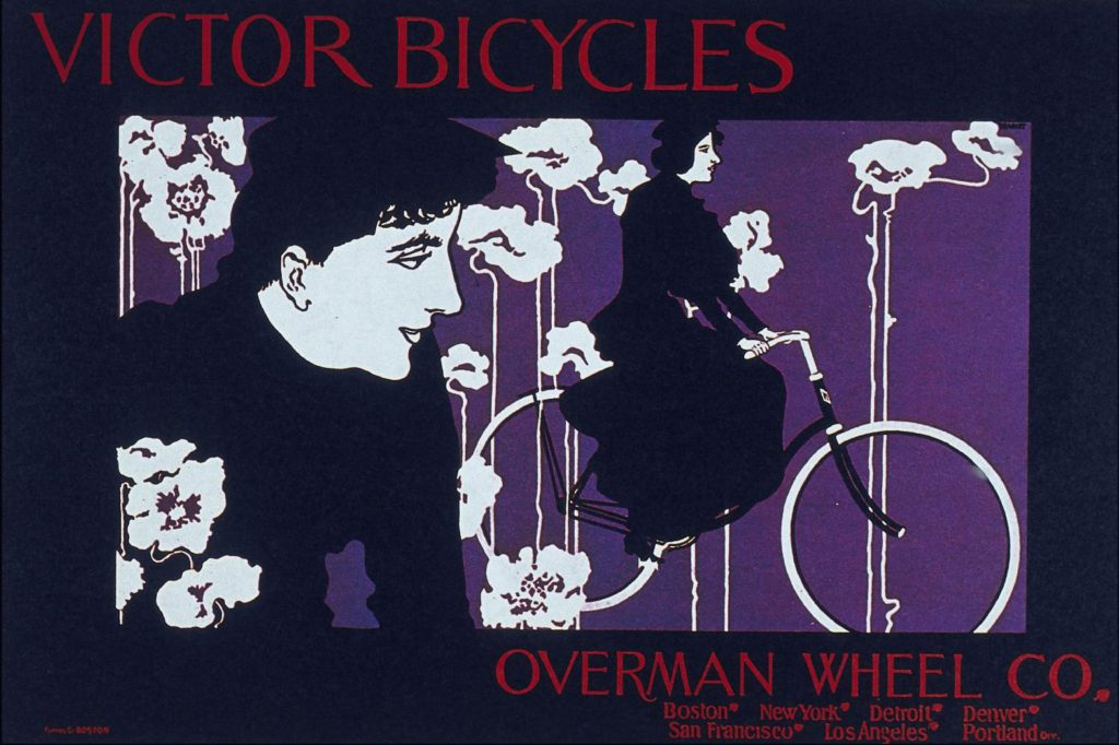 Плакат Viktor Bicycles. Уильям Бредли. 1896