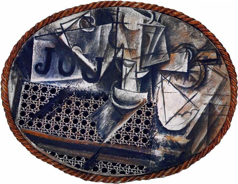 Натюрморт с плетеным стулом. Пабло Пикассо