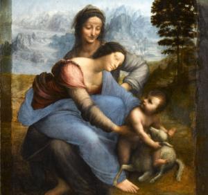 Мадонна с младенцем и святой Анной. Фрагмент.
