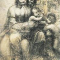 Мадонна с младенцем, святой ной и младенцем Иоанном. Леонардо.