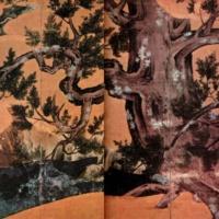 Кипарис. Роспись ширмы. Кано Эйтоку