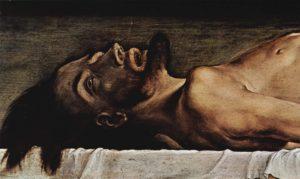 Мертвый Христос в гробу. Фрагмент.