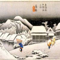 Вечерний снег. Утагава Хиросигэ.