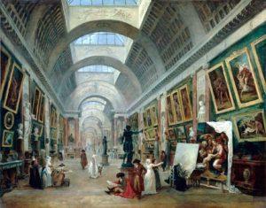Большая галерея Лувра (1796). Юбер Робер.