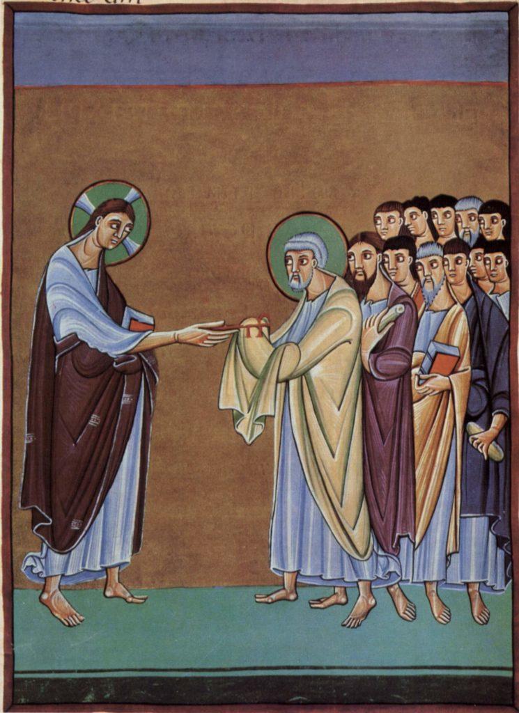 Апостол Петр принимает ключ. Книга перикоп Генриха II.