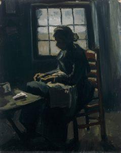 Женщина за шитьем. Ван Гог.