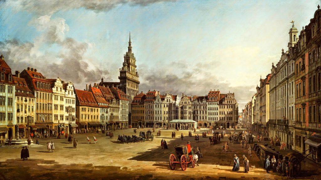 Вид старого рынка в Дрездене. Бернардо Беллотто.