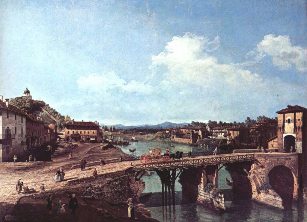 Старый мост через реку По. Бернардо Беллотто.