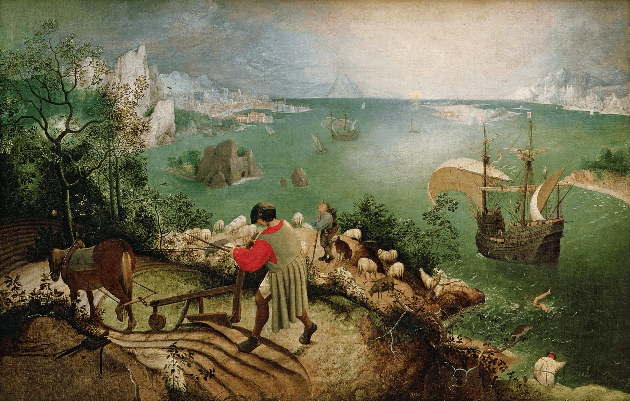 Пейзаж с падением Икара. Брейгель. 1558.