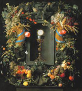 Потир и облатка увитые гирляндами фруктов. Ян Давидс де Хем.