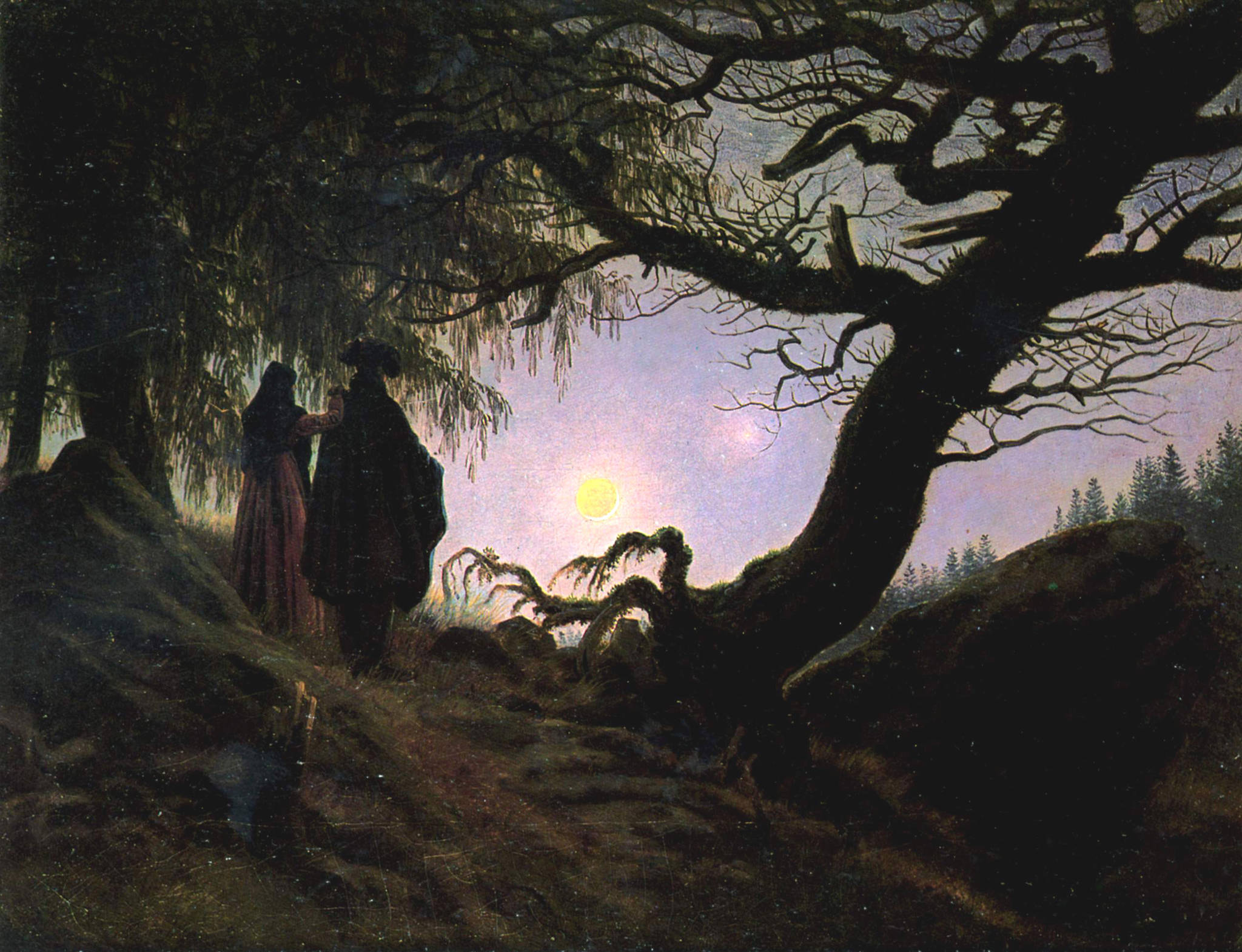 Двое, созерцающие луну. Давид Каспар.