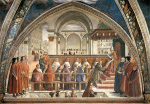 Утверждение устава монашеского ордена. Доменико Гирландайо.