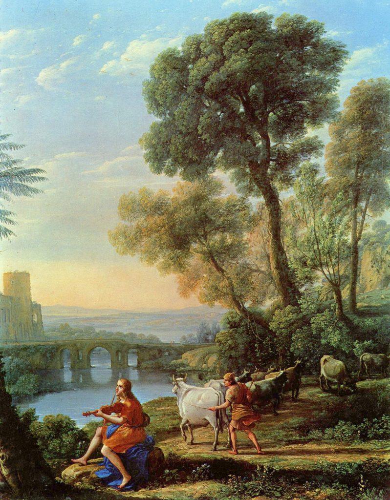 Пейзаж с Аполлоном и Меркурием. Клод Лоррен.