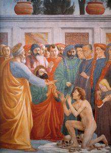 Воскрешение сына Теофила. Фрагмент. Мазаччо.
