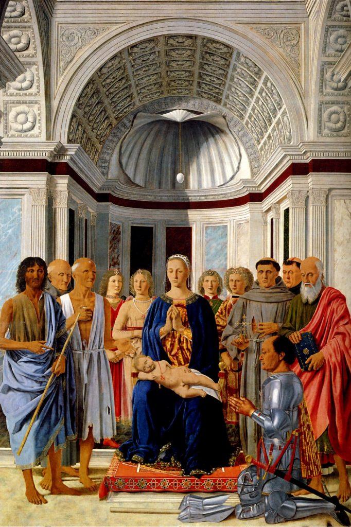 Мадонна со святыми и герцогом Федериго да Монтефельтро. Пьеро делла Франческа.